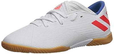 adidas Unisex-Kid's Nemeziz Messi 19.3 Indoor Soccer Shoe, White/Solar Red/Football Blue, 1.5 M US Little Kid