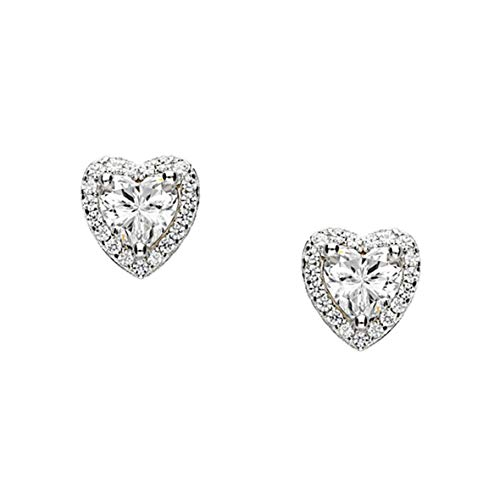 KATE ELLIS Sterling Silver Stud Earrings with Halo Heart Crystals