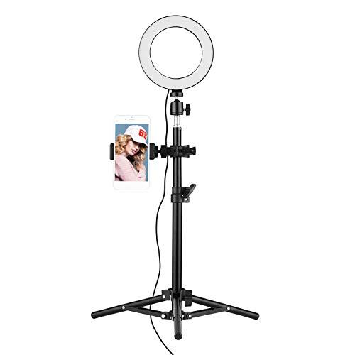 Flytise 16cm 3000K-6500K Luz de Video de Anillo Bicolor con Soporte de luz de 50 cm Mini Soporte de teléfono con Cabeza esférica para transmisión en Vivo Fotografía de Autor Grabación de Video