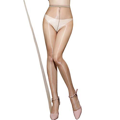 HTRUIYATY Collant Donna A Vita Alta Linea Anti-Gancio Calze Trasparenti Collant 1 Den Si Adatta A Pantaloncini O Gonne Corte-beige