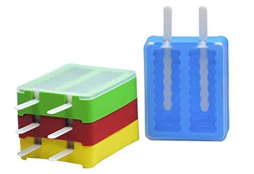 Maurice EIS am Stiel Schimmel 4 stücke EIS Formen Mit Deckel Silikon Lange Stil Eiswürfel Popsicle Maker Mould Tools (Blau, gelb, grün und rot)