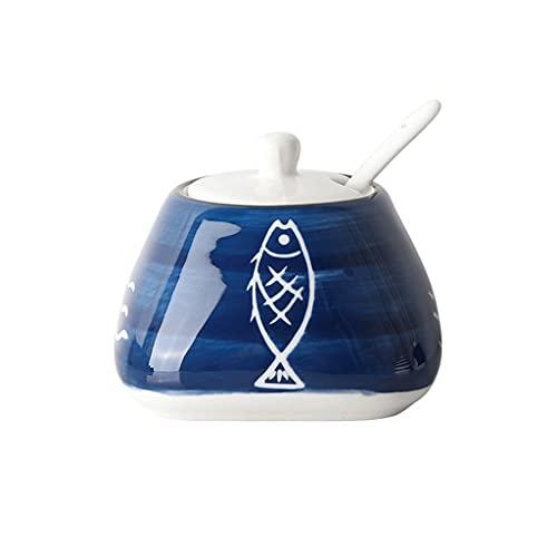 DEF Barattoli di Spezie in Ceramica, Pentole Condimento Dipinte A Mano con Copertina E Cucchiaio, Cucina Condimento Bottiglia Sale Shaker Zucchero Ciotola, 300 Ml / 10,6oz (Color : A)