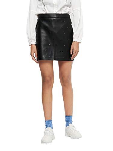 Only Onlannelly-Joleen Stud PU Mini Skirt Pnt Falda para Mujer