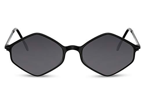 Cheapass Sonnenbrille Schwarz Diamant Hexagonal Klein Schmal UV-400 Brille Metall Damen Frauen