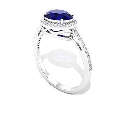 Anillo de halo de diamante certificado IGI con forma ovalada de zafiro azul de 1,76 quilates, 14K Oro rosa, Size:EU 44