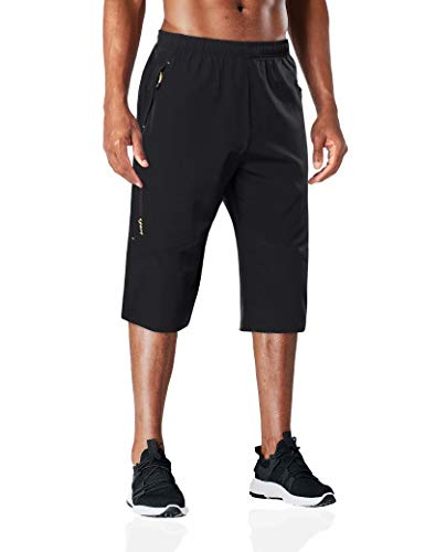 BIYLACLESEN Capri Pants for Men Quick Dry Pants Men Hiking Pants Mens Three-Quarter Pants 3/4 Pants Men 3/4 Joggers Long Shorts for Men Black