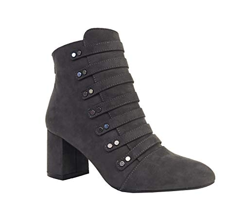 Qupid MELBA-16! Women's Studs Embellished Strap Block Heel Bootie Ankle Boots, Charcoal Faux Suede 6 M US