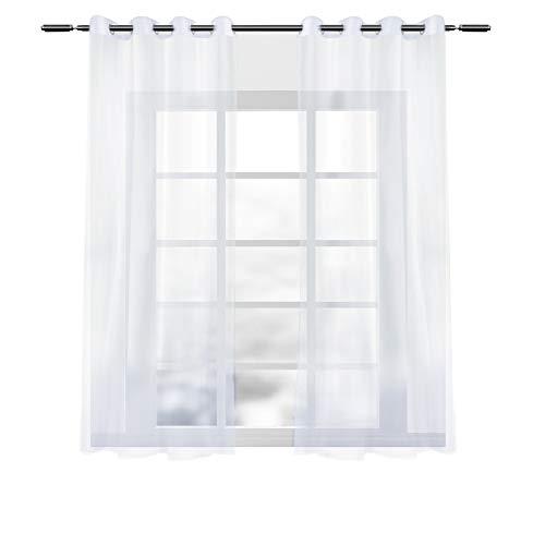 WOLTU VH5514ws-2, 2er Set Gardinen Vorhänge transparent mit Ösen Stores, Doppelpack Ösenvorhang Fensterschal Voile für Wohnzimmer Schlafzimmer Landhaus, 140x175 cm Weiß