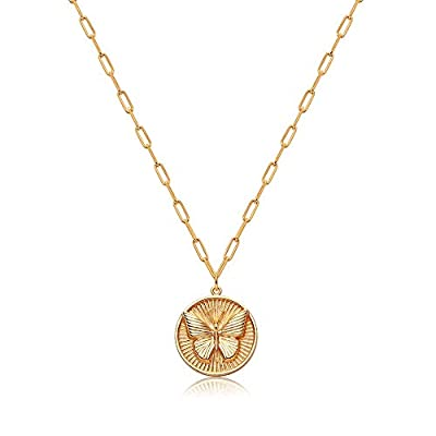 Mevecco Dainty Bold Butterfly Pendant Necklace for Women 18K Gold Plated Carved Embossed Disk Karma Circle Pendant Rectangle Paperclip Link Chain Coin Necklace Meaningful Gift Personalized Jewelry
