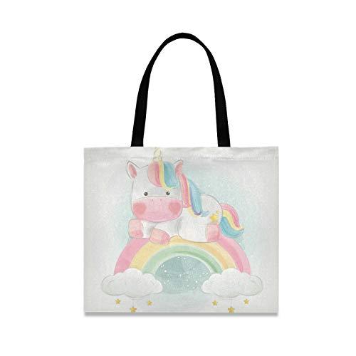 RURUTONG Lindo unicornio lona bolsa para mujeres niñas arco iris cielo bien hecho multiusos reutilizable comestibles playa bolsas de compras bolso 2010169