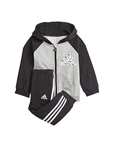 adidas GT9500 I BOS Logo FZ J Baby Set Unisex-Baby Top:medium Grey Heather/Black Bottom:Black/White 1218
