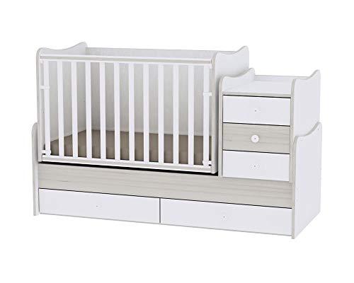 Lit bébé évolutif/combiné Maxi Plus Chêne clair Lorelli (Le lit se transforme en lit d'adolescent, bureau, armoire multifonction)