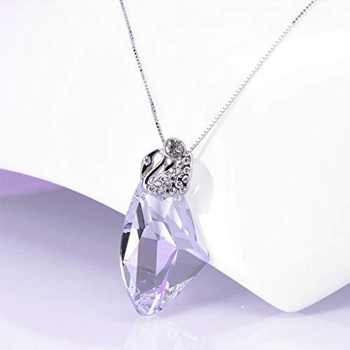 YIXIN2013SHOP Collar Colgante Sintética cristalina imitación Colgante de 18' de la Cadena de Cadena de Plata niñas Blancas Irregular de Cristal clavícula Cadena Joyería de Moda