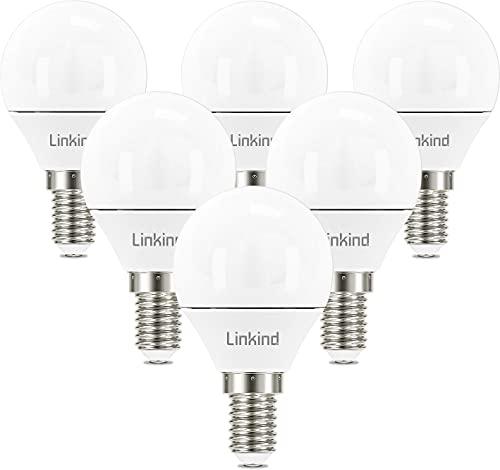 Linkind Lampada a sfera da golf LED E14 da 5,2 W, lampade a incandescenza sostituite da 40 W, lampadina bianca fredda da 470 lm 5000 K, 230 V non dimmerabile, confezione da 6