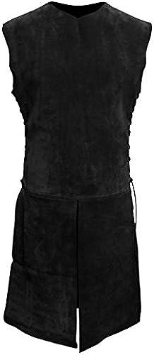 Andracor - Handgefertigter Waffürock aus Leder für J r, Waldelfen und Bogenschützen - LARP, Mittelalter, Fantasy & Cosplay – Schwarz– Größe  XL