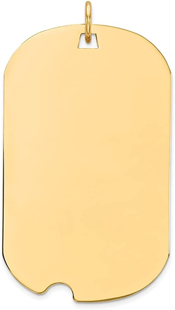 14k Yellow Gold Plain .035 Gauge Engraveable Dog Tag Notch Disc Pendant (L- 37 mm, W- 20 mm)