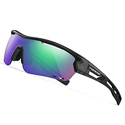 TOREGE Polarized Sports Sunglasses with 3 Interchangeable Lenes for Men Women Cycling Running Driving Fishing Golf Baseball Glasses TR33 Storm Chaser (Transparent Grey&Black&Green Lens)