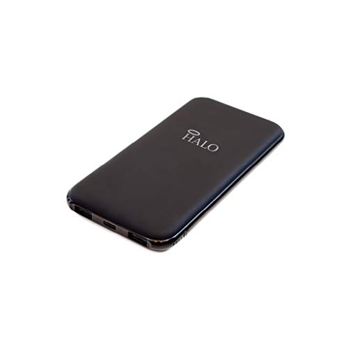 Halo Pocket Power 10000 Portable Charger Power Bank for Phone and Tablet - High-Speed TSA Approved 10000mAh Battery Pack 1 Type C USB Port, 1 Standard USB Port and Micro USB Cable – Black