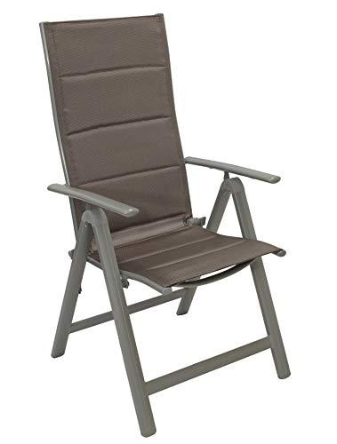 gartenmoebel-einkauf 2X Klappsessel TAVIANO Alu grau + Textilgewebe gepolstert braun/Silber, 5-Fach verstellbar