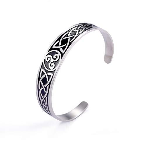 LUSSO Pulsera de acero inoxidable con símbolo de triskele nórdico vikingo irlandés celta nudo brazalete brazalete vintage amuleto joyería regalo para mujeres, hombres y adolescentes