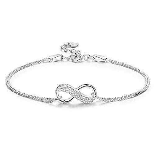 Fu You Armbänder Damen 925 Sterling Silber Armband Infinity Armbänder mit Zirkonia verstellbar Armband für Damen Mädchen
