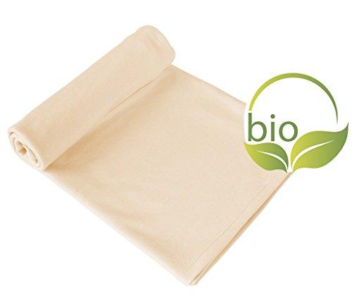 byboom–Couverture, plaid, erstling pour bébé, couverture d'été, 70x 100cm, 100% coton bio, Couleur: Beige/Beige