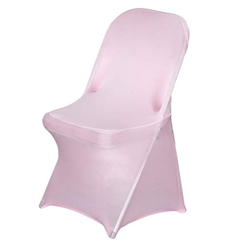 Efavormart 10PCS Stretchy Spandex Fitted Folding Chair Cover Dinning Event Slipcover for Wedding Party Banquet Catering - Pink
