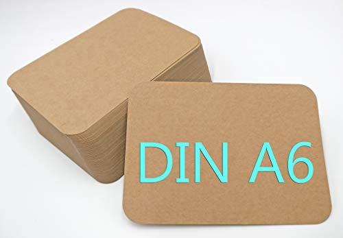 DIN A6 Postkarten Karteikarten Set Blanko zum Selbstgestalten Wahlweise mit Umschlägen und runden Ecken (Kraftpapier braun rund 300g/m², 50 Karten)