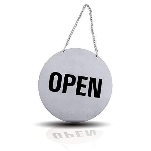 Kerafactum - Cartel para puerta con cierre abierto, con cadena redonda de acero inoxidable cepillado mate brillante, colgante, estilo estadounidense