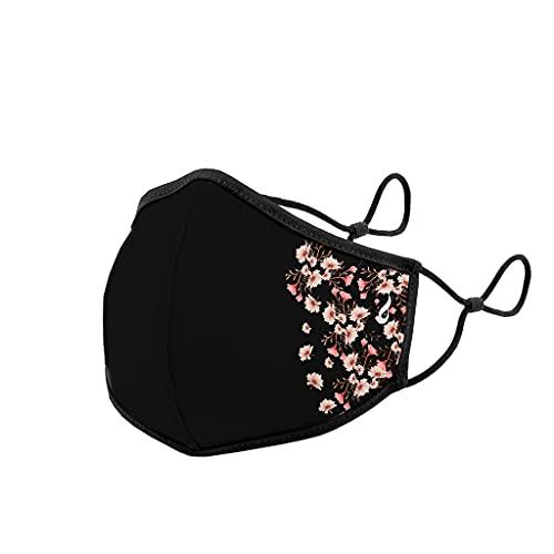 Abbacino mascarilla homologada y lavable para adulto con ajuste nasal estampado flores laterales negra