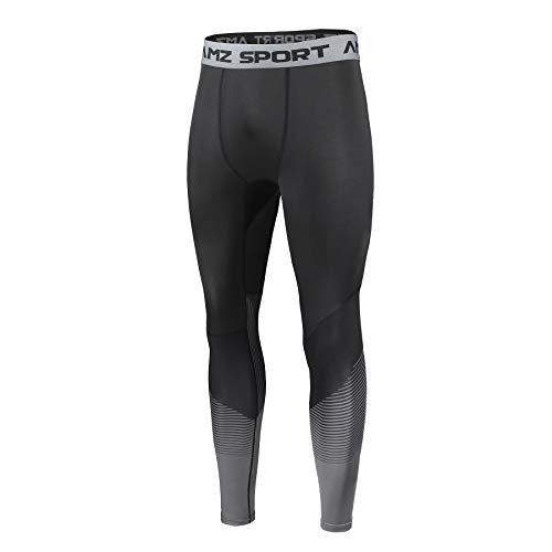AMZSPORT Herren Sport Kompressionshose Laufhose Baselayer Leggings Trainingshose -Neue Generation Schwarz, L