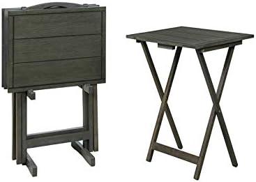 Powell Lisbon Regular dealer Five Piece Wood in Set Gray supreme Table Tray