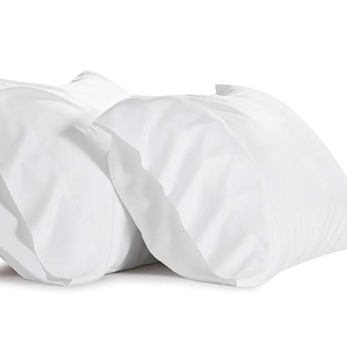 Bedsure Bamboo White Pillowcases Queen Set of 2 - Cooling Ultra Soft Pillow Cases - Viscose from Bamboo - Organic Natural Silky Material, Moisture Wicking (Queen Size 20x30 inches)