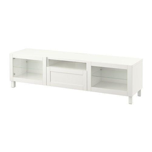 IKEA Meuble TV Hanviken Sindvik Blanc Verre transparent 20202.20526.3426