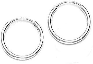 DARSHRAJ 925 Sterling Silver(Chandi) Hoop Earrings, Bali, Baby Girls Smallest Size Bali For Kids (Size - 12 mm, Weight- 1 gm)