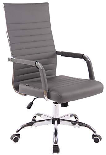CLP Bürostuhl Amadora Kunstleder Mit Leichtlaufrollen | Chefsessel Mit Lehne | Höhenverstellbarer Ergonomischer Bürosessel, Farbe:grau