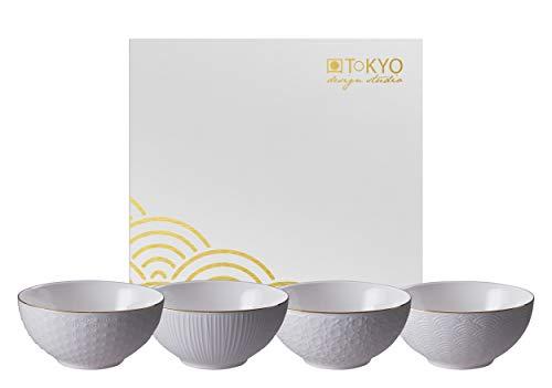 TOKYO design studio Nippon White 4-er Schalen-Set weiß, mit Gold-Rand, Ø 15 cm, 7 cm hoch, ca. 600 ml, asiatisches Porzellan, Japanisches Design, inkl. Geschenk-Verpackung