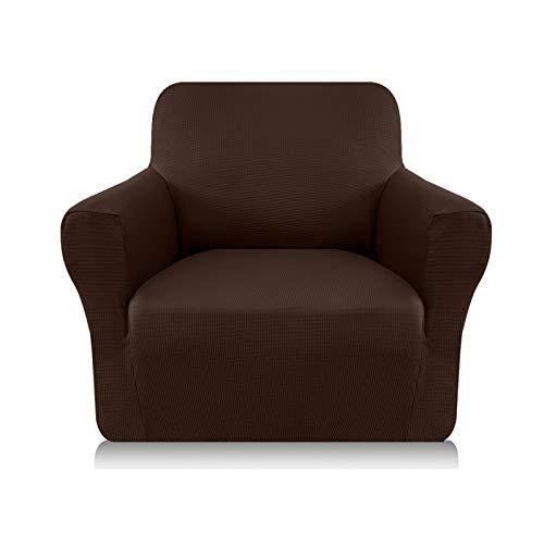 Granbest Sofabezug, dick, 1 Stück, dehnbar, 1-Sitzer, rutschfest, für Sofa, Möbelschutz, Stoff Spandex Jacquard (1-Sitzer, Schokoladenbraun)