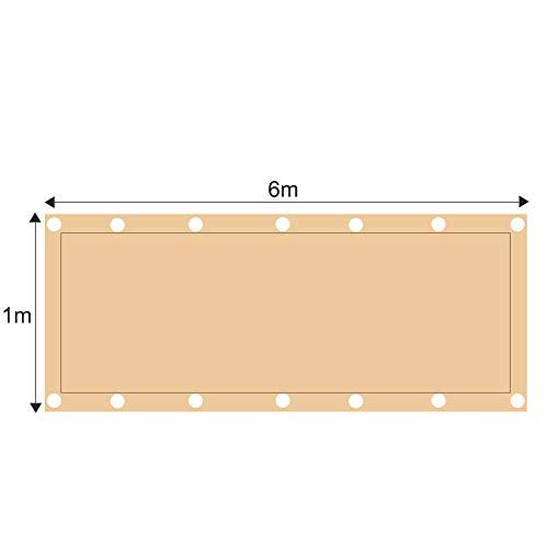 JHKGY Redes de Sombra rectangulares,Sun Shade Sail Viseras UV en Patio Garden,Canopy Rectangular Sand, para Patio, jardín, Equipos y Actividades al Aire Libre,1x6m