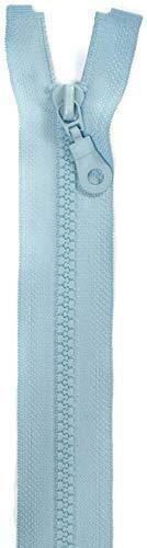 Jajasio 2 STK. Reißverschlüsse Grob Kunststoff 5mm teilbar in 25 Farben Grober Reißverschluss für Jacken Taschen eisblau 45cm