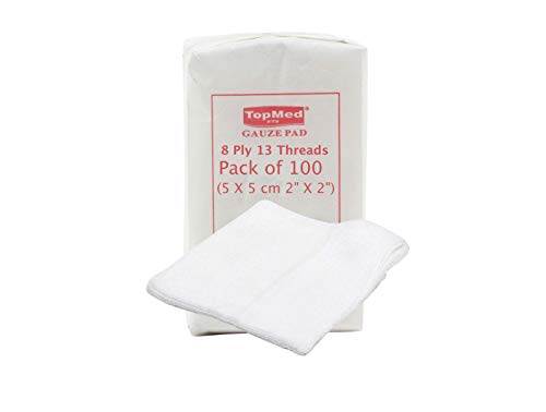 Cotton Gauze Swabs, Non-Sterile,White,8 Ply 13 Threads Pack of 100 (5 X 5 cm 2' X 2')