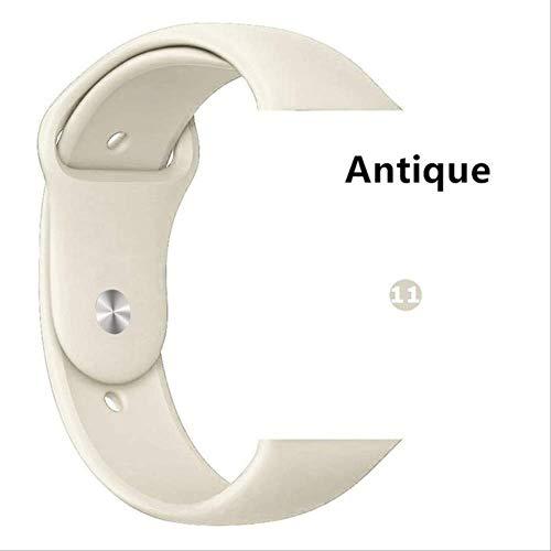QSJWLKJ Correa para Apple Watch Band Sport Loop Pulsera de Goma Correa de Reloj 42 mm o 44 mm ML Blanco Antiguo 11