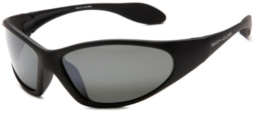 Body Glove FL2-A Polarized Sunglasses, Matte Black Rubberized Frame/Smoke With Silver Mirror Flash Lens, one size
