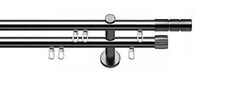 Tilldekor Innenlauf Gardinenstange ALICANTE, 2-Lauf, edelstahl optik, Ø 20 mm, 120 cm, inkl. Trägern und Gleitern