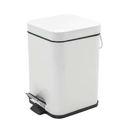 Harbour Housewares Poubelle de Salle de Bain carrée - avec pédale/bac intérieur Amovible - Acier Blanc - 3 litres