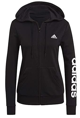 adidas W Lin FT FZ HD Sweatshirt, Women's, Black/White, L