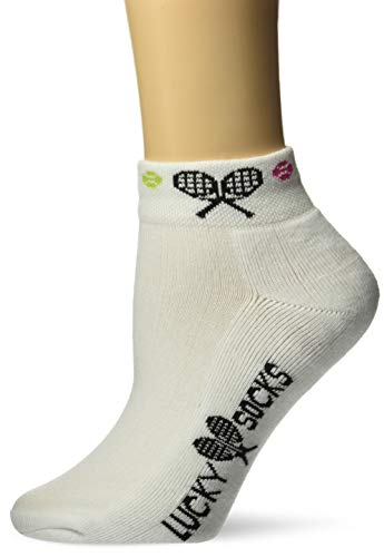 K. Bell Women's Sports and Outdoors Novelty No Show Low Cut Socks, Raquet (White), Shoe Size: 4-10