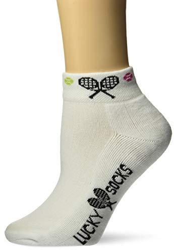K. Bell Women's Met my Match Tennis Novelty Low Cut Athletic Socks, Raquet (White), Shoe Size: 4-10