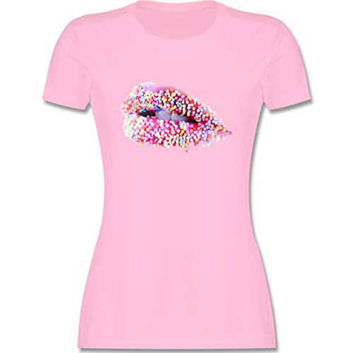 Statement - Candy Lips Lippen Zucker Mund - XXL - Rosa - kussmund Tshirt Damen - L191 - Tailliertes Tshirt für Damen und Frauen T-Shirt