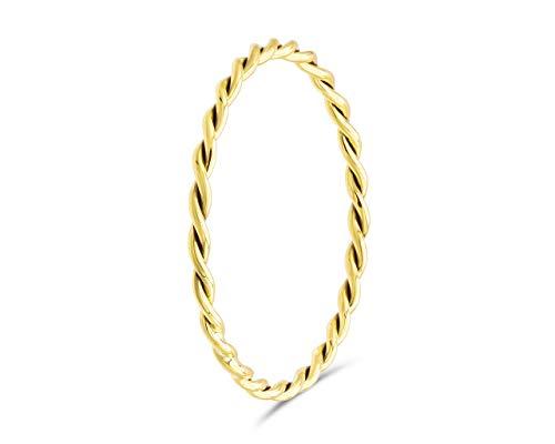 fajno Geflochtener Goldring für Frauen. Goldring Damen | 18k Goldschmuck für Frauen | Vorsteckring, Stapelring, Spiralring